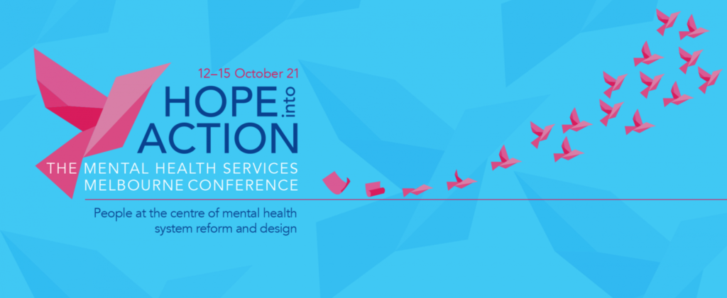 Image of TheMHS Conference logo with the dates 12 to 15 October 21 and the the tagline Hope into Action
